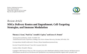 MSCs- Delivery Routes and Engraftment, Cell-Targeting Strategies, and Immune Modulation Innate Healthcare