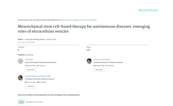 Mesenchymal stem cell-based therapy for autoimmune diseases- emerging roles of extracellular vesicles Innate Healthcare