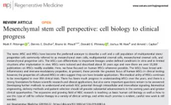 Mesenchymal stem cell perspective- cell biology to clinical progress Innate Healthcare