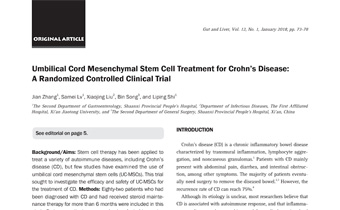 Umbilical Cord Mesenchymal Stem Cell Treatment for Crohn's Disease- A Randomized Controlled Clinical Trial Innate Healthcare